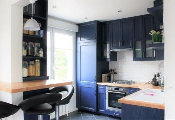 cuisine Frêne massif laquée bleue